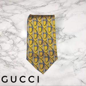 Gucci Gold Blue Tassel Print Silk Tie EUC